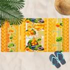 Вафельное полотенце пляжное «Мандаринки» 80х150 см, разноцветный, 160г/м2,хлопок 100%