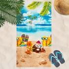 Вафельное полотенце пляжное «Отпуск» 80х150 см, разноцветный, 160г/м2,хлопок 100%