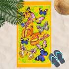 """Вафельное полотенце пляжное «Бабочки"""" 80х150 см, желтый, 160г/м2,хлопок 100%"""