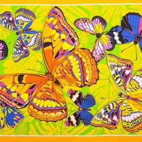 Вафельное полотенце Бабочки 80х150 см, желтый, хлопок 100 %, 160г/м² - фото 1395820