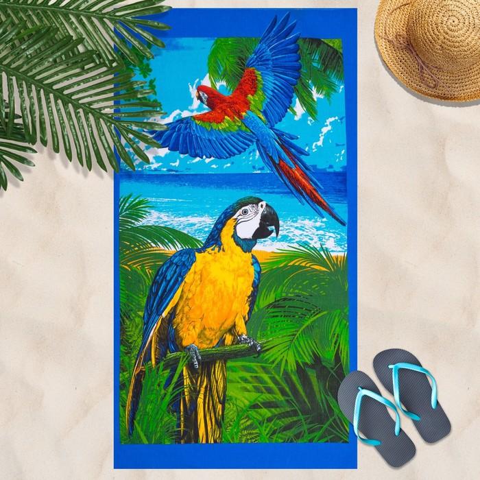 Вафельное полотенце Попугай 80х150 см, разноцветный, хлопок 100 %, 160г/м²