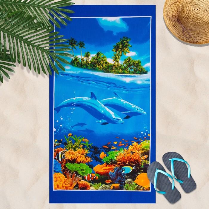 Вафельное полотенце пляжное «Дельфин» 80х150 см, разноцветный, 160г/м2,хлопок 100%