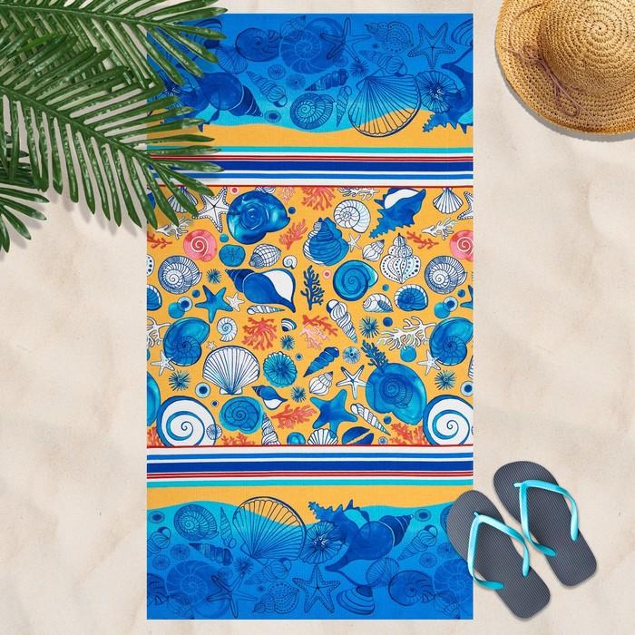 Вафельное полотенце Пляж 80х150 см, разноцветный, хлопок 100%, 160г/м²