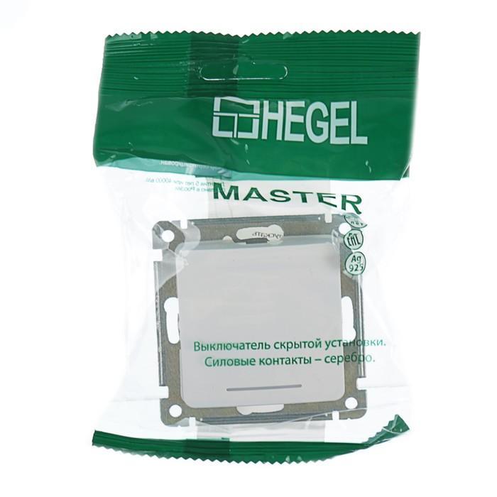 """Выключатель HEGEL""""Мастер""""ВС10-432-01,10 А,1 клавиша, скрытая, с индикацией,с самовозв.беж."""