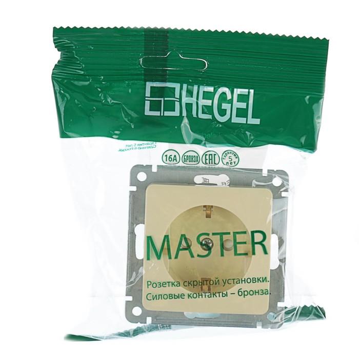 "Розетка HEGEL ""Мастер"" РС16-412-01, 16 А, одноместная, скрытая, со шторками, с з/к, бежевый   357454"