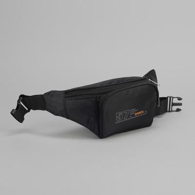 Сумка на пояс, отдел на молнии, 2 наружных кармана, регулируемый ремень, цвет чёрный