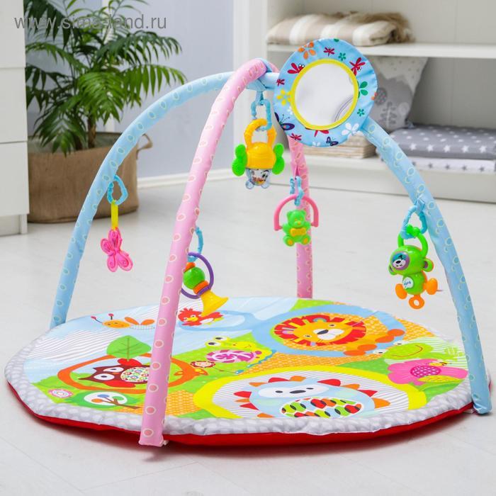 Развивающий коврик с дугами «Ёжик и друзья», 5 игрушек + безопасное зеркальце