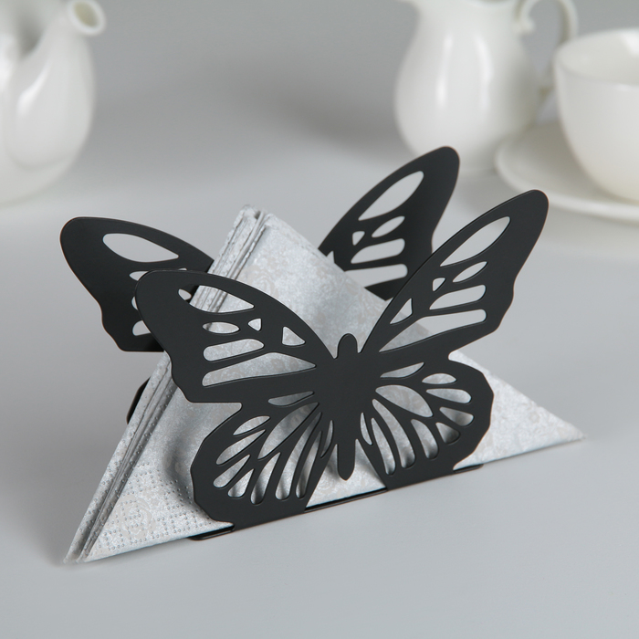 """Салфетница """"Бабочка"""" 13,5х4х9 см, цвет черный"""
