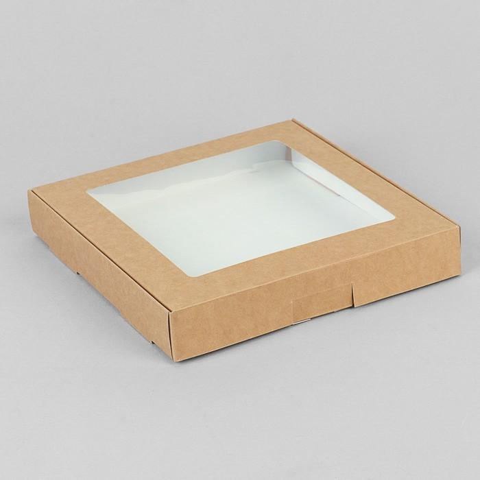 Коробка самосборная бесклеевая, крафт, 19 х 19 х 3 см - фото 308035401
