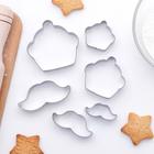 """Набор форм для вырезания печенья 6х6х1,5 см """"Усы и капкейк"""", 6 шт - фото 146610400"""
