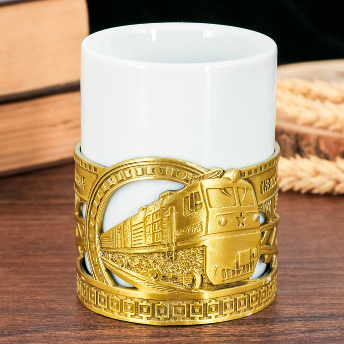 "Кружка с металлическим декором ""РЖД"", 200 мл"