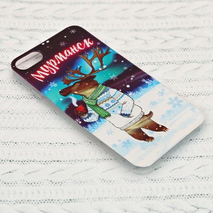 Чехол для iPhone 7 телефона «Мурманск» (олень), 7 х 14 см