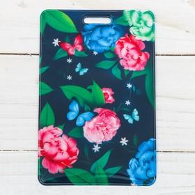 """Чехол для бейджа и карточек """"Цветы"""", 6,5 х 10 см"""
