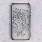 Чехол Luazon Цветок для iPhone 5/5s, пластиковый, чёрный