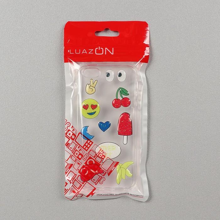 Чехол LuazON, Смайл для iPhone 5/5s, силиконовый, прозрачный