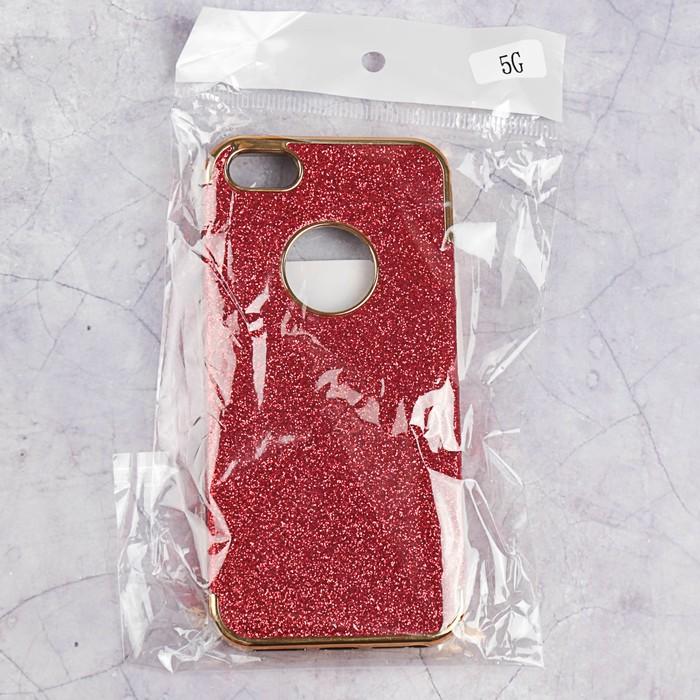 Чехол пластиковый Luazon Блестящий для iPhone 5/5s, красный