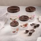 A set of jars for bulk products, 4 PCs: 12,5x16,5/10x13,5/8h11/6,5x9 cm, with spoons, MIX