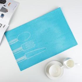 """Салфетка кухонная 45х30 см """"Столовые приборы"""", цвет голубой"""