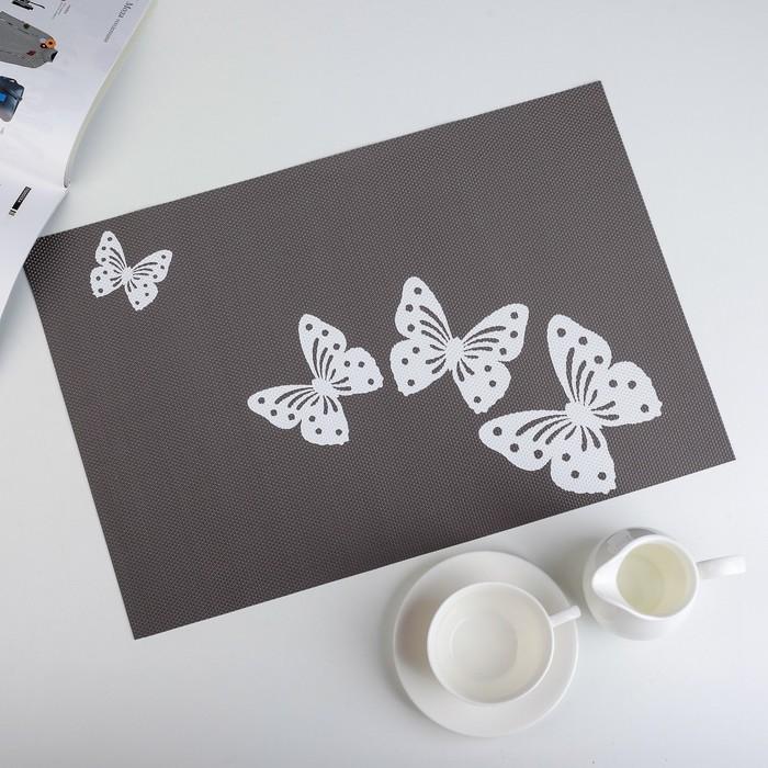"""Салфетка кухонная 45х30 см """"Бабочки"""", цвет серый"""