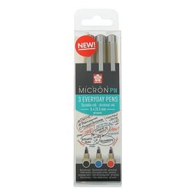 Набор ручек капиллярных Sakura Pigma Micron PN 0.4/0.5 мм, 3 цвета: черный/синий/красный, (высокое содержание пигмента)