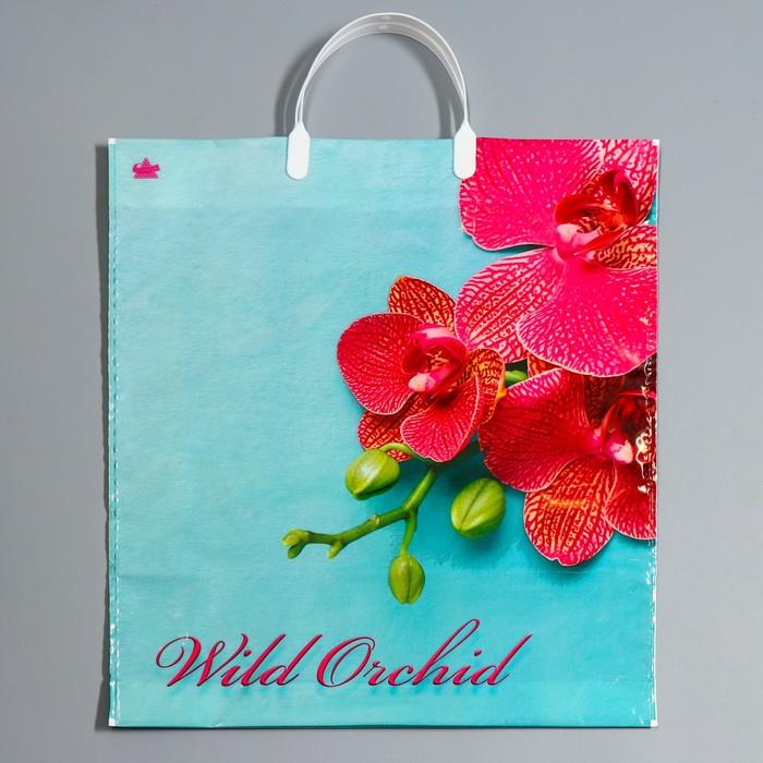 """Пакет """"Розовая орхидея"""", полиэтиленовый с пластиковой ручкой, 44 х 40 см, 100 мкм - фото 308291903"""