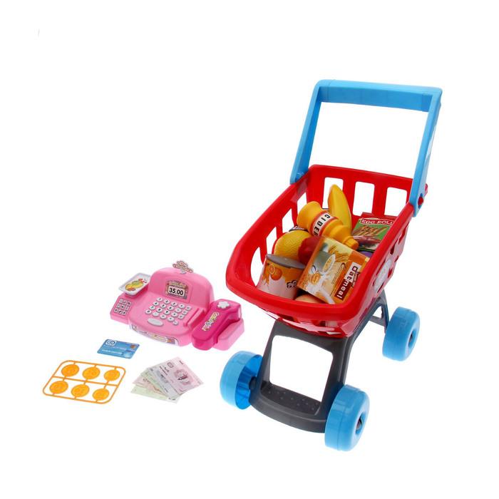 """Игровой набор """"Минимагазин"""" с розовой кассой и тележкой В ПАКЕТЕ"""