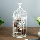 """Подсвечник металл на 4 свечи """"Клетка с птицей и бабочкой"""" белый 42,5х19х19 см"""