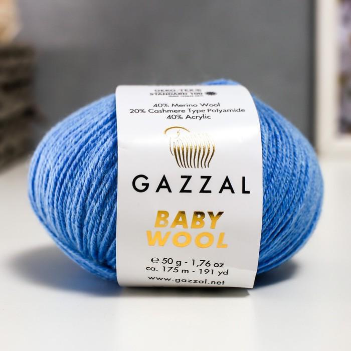 """Пряжа """"Baby Wool"""" 20% кашемир, 40% меринос. шерсть, 40% акрил 175м/50гр (813 голубой) - фото 7259208"""