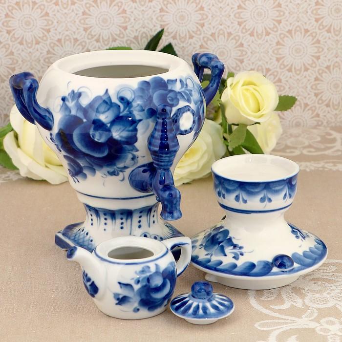 Самовар сувенирный, с чайником, гжель, фарфор, 2с