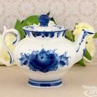 """Чайник """"Орхидея"""", гжель, фарфор, 2с"""