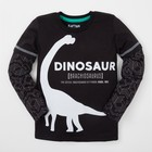 """Футболка с длинным рукавом """"Динозавр"""", чёрная, р-р 34 (122-128см) 7-8л 100% хл"""