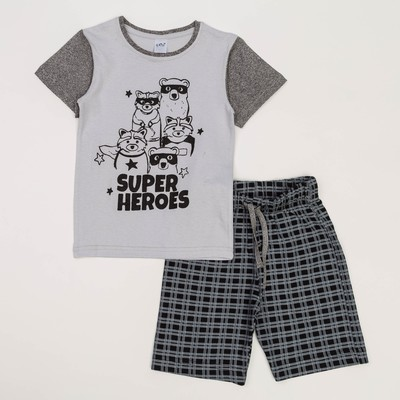 Пижама для мальчиков, рост 140-146 (40) см, цвет серый