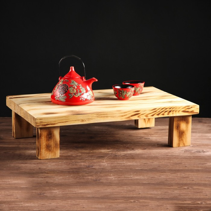 """Столик для завтрака """"Славянский"""", обжиг с брашированием, массив сосны, 60 х 42 см"""