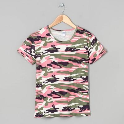 Футболка женская 31339 цвет розовый/милитари, р-р 44