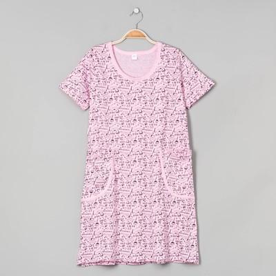Платье домашнее женское, цвет розовый, размер 44