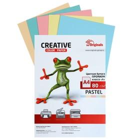 Бумага цветная А4, 50 листов «Креатив» Пастель, 5 цветов, 80 г/м²