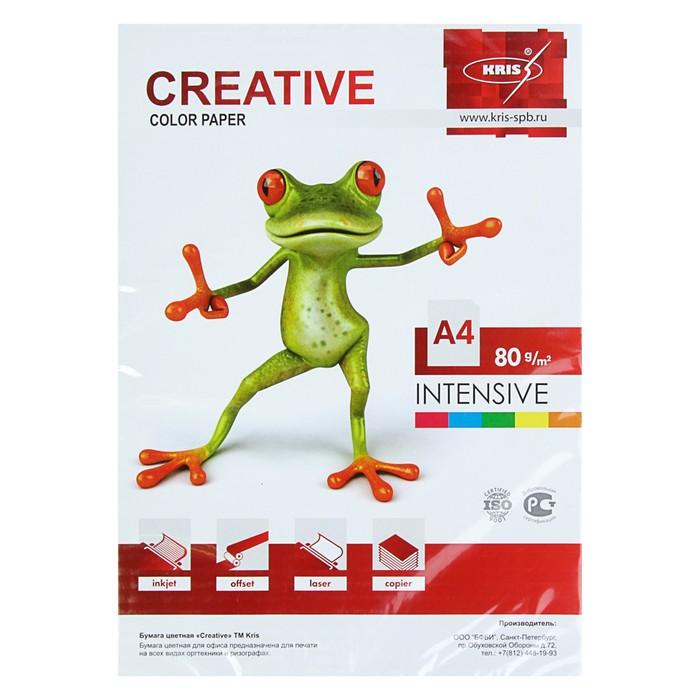 Бумага цветная А4, 250 листов «Креатив» Интенсив, 5 цветов, 80 г/м² - фото 7395720