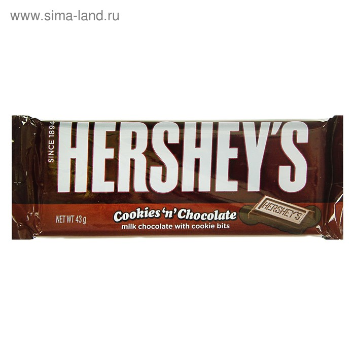 Шок. батончик Hersheys Cookies N Chocolate 43г(36)