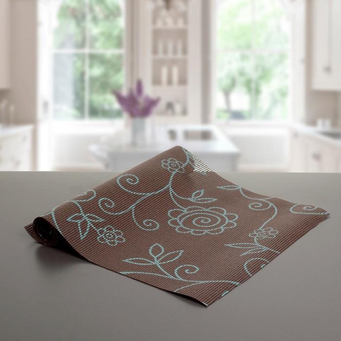 """Коврик противоскользящий сервировочный """"Вьющиеся цветы"""" 30х90 см, цвет коричневый"""