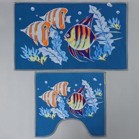 Набор ковриков для ванны и туалета «Подводный мир», 2 шт: 45×48, 58×78 см