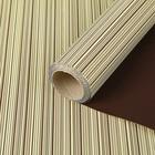 Бумага гофрированная с полосой, кремово-золотой с коричневым, 0,5 х 10 м