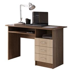 Стол письменный с 3-мя ящиками, 1400 × 570 × 750, Ясень шимо темный/Ясень шимо светлый