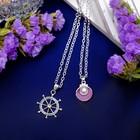 """Кулон """"Дуэт"""" штурвал и раковина, цвет бело-розовый в серебре, 42 см"""