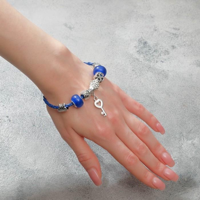 """Браслет ассорти """"Марджери"""" бусины с ключиком, цвет бело-синий в серебре, L=19 см - фото 7473931"""