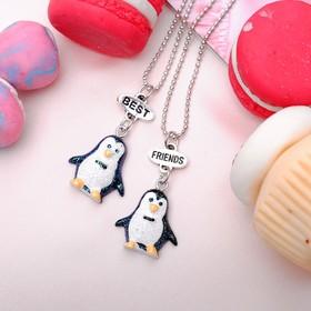 """Кулон """"Выбражулька"""", неразлучники, пингвинчики, 2 цепочки 45 см, цвет черно-белый"""