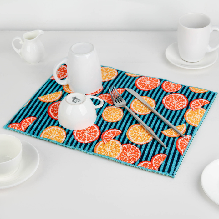 """Коврик для сушки посуды 30×40 см """"Цитрусы"""", микрофибра"""