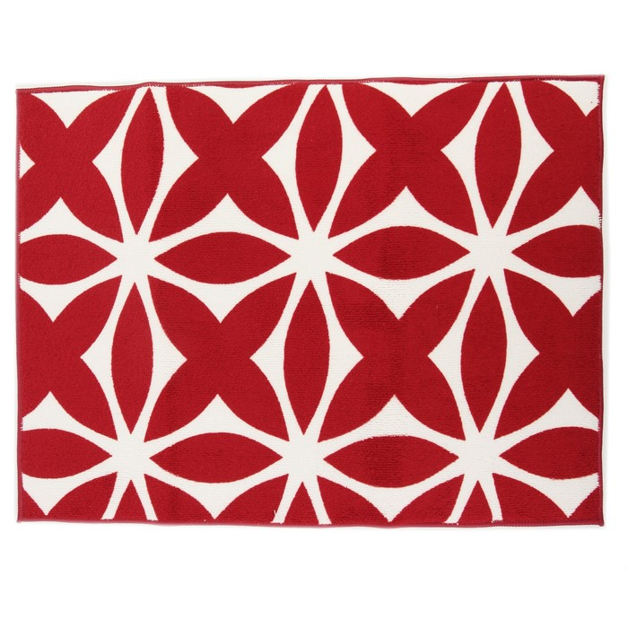 """Коврик для сушки посуды 38×51 см """"Призма"""", микрофибра, цвет красный"""