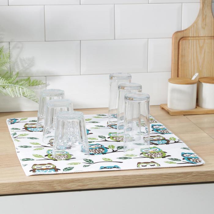 Mat for drying dishes 38х51 cm, Owls microfiber