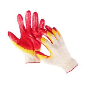 Перчатки, х/б, вязка 13 класс, размер 9, латексный облив, красные, ЛЮКС Ош