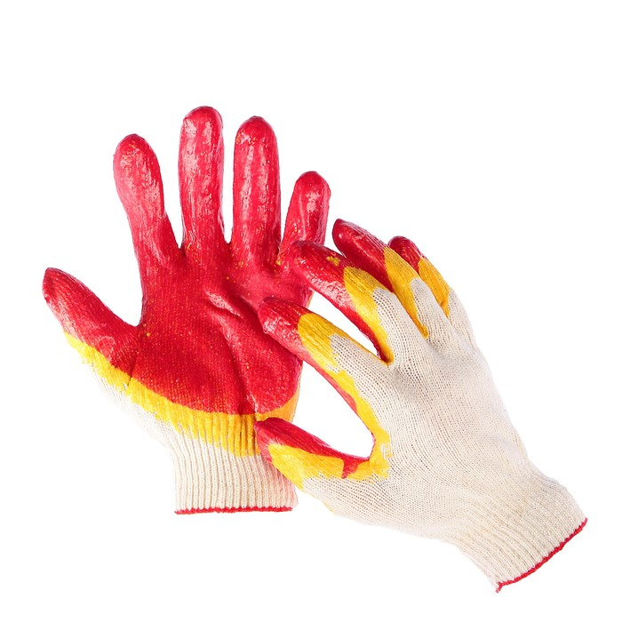 Перчатки, х/б, вязка 13 класс, размер 9, латексный облив, красные, ЛЮКС
